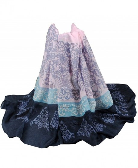 Women's Light Weight Colorful Painting China Art Design Scarf - Blue+black - CI12ILKQETD