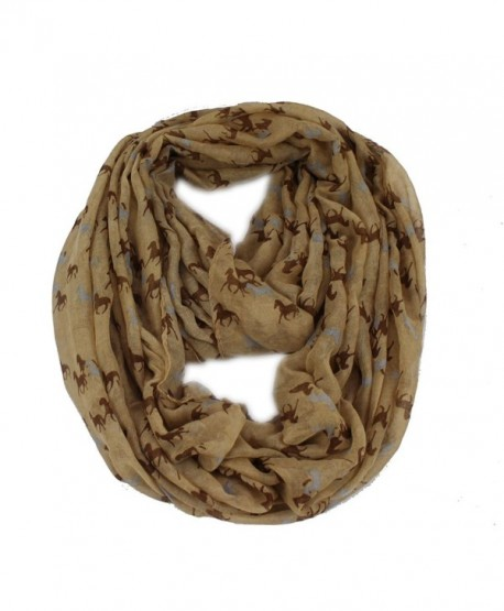 Women's Horse Equestrian Print Viscose Infinity Loop Cowl Casual Ladies Scarf - Brown - C211AUR1H7J