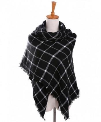 Bess Bridal Women's Plaid Blanket Winter Scarf Warm Cozy Tartan Wrap Oversized Shawl Cape - Black - CE186HL7289