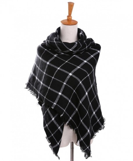 Bess Bridal Women's Plaid Blanket Winter Scarf Warm Cozy Tartan Wrap Oversized Shawl Cape - Black - CE186HL7289