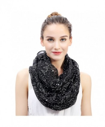Lina & Lily Constellation Print Women's Infinity Scarf Lightweight - Black - CP127PQOCOX