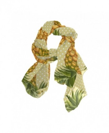 DEYYA Womens Infinity Lightweight Silk Scarf Pineapple Pattern Prints Long Silk Scarves - C6186N9KSX6