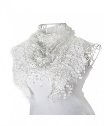 HP95(TM) Lace Tassel Sheer Burntout Floral Print Triangle Mantilla Scarf Shawl - White - C8122V2I9XL