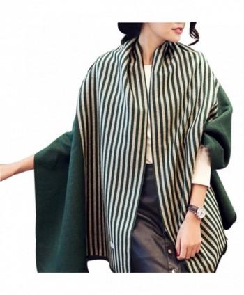 Soft Warm Women's Stylish Tartan Warm Blanket Scarf Gorgeous Shawl Wrap - Green Stripe - CL1880K96X5