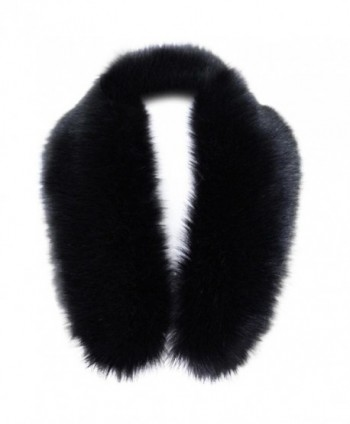 TONSEE Women's Winter Fashion Faux Fox Fur Collar Scarf Shawl Collar - Black - CD12N3CNDNH