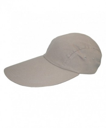 CTM Cotton Long 5 Inch Bill Visor Baseball Cap - Khaki - CB11CQDS823