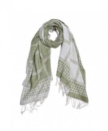 Unique Winter Long 2-Sided Soft Plaid Checker Knit Tasseled Scarf Shawl Wrap - Olive - CC12NUUXKVD