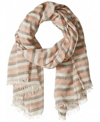 D&Y Women's Distressed Stripe Oblong Scarf - Orange - CD12O1MTM70