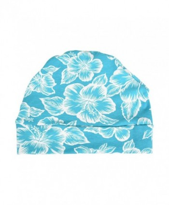 Landana Headscarves Cotton Womens Soft Sleep Cap Chemo Beanie - aqua floral - C612JBHOIBV