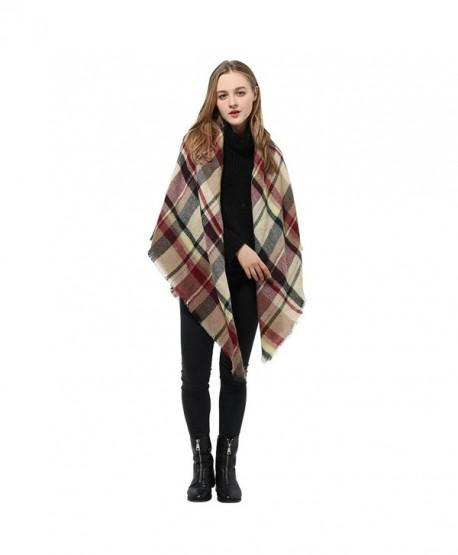 Tartan Blanket Scarf Wrap Shawl Checked Pashmina Winter Scarf for Women - Kahki Mix - CF186A8N204