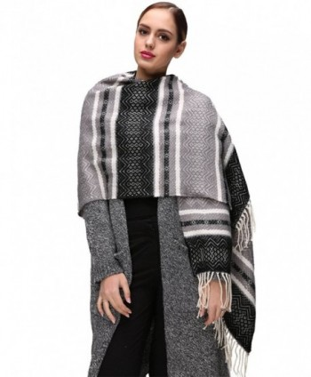 EVRFELAN Winter Warm Oversized Shawl Fringe Tassel Scarf Knit Blanket Pashmina for Women - Black Tassel - CE185GX48U5