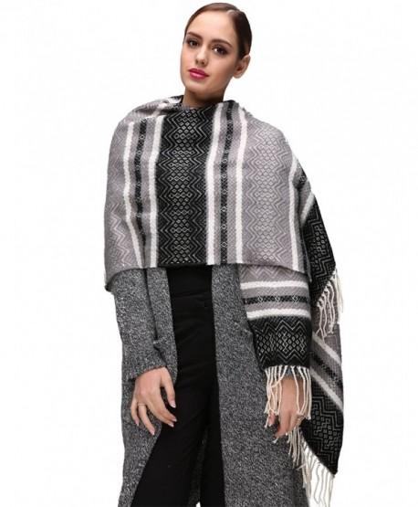 EVRFELAN Winter Warm Oversized Shawl Fringe Tassel Scarf Knit Blanket Pashmina for Women - Black Tassel - CE185GX48U5