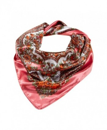 "Sanwood Women's 35"" Silk Like Neckerchief Square Scarf Headdress Gift - Pink - CS12D30WUDZ"