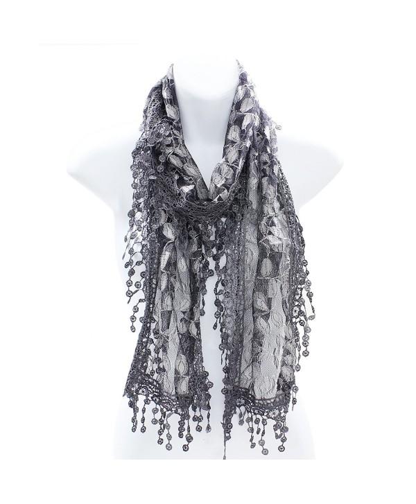 AN Fashion Leafy Lace Scarf Womens With Tassels - Dark Gray - CV121WMHQS5
