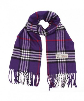 Plaid Cashmere Feel Classic Soft Luxurious Winter Scarf For Men Women - Purple - C418827YT5Z