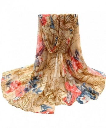 Auwer Women's Beautiful Mixed Color Voile Stole Scarves Long Neck Wraps Shawl Scarf - Yellow - C7188A98QWE
