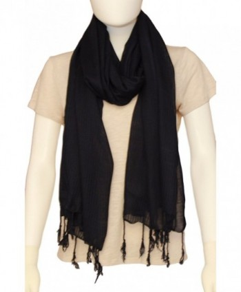 Ethnicity Pure Linen Headscarf- Long Striped Scarves of Soft fabric with Elegant Style for Women - Navy Blue - CQ12O1XDS6L