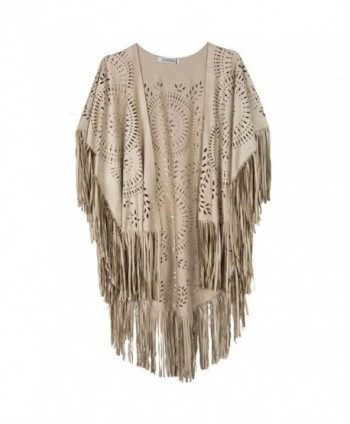 Frenshion Womens Hollow Asymmetric Fringed
