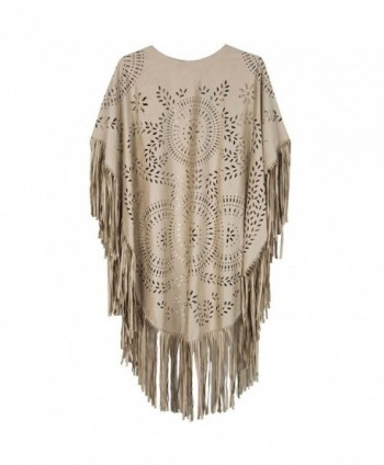 Frenshion Womens Hollow Asymmetric Fringed in Wraps & Pashminas