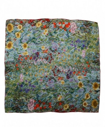 Dahlia Women's 100% Luxury Silk Scarf - Gustav Klimt's Famous Painting - Farm Garden With Sunflowers - C21108ELTLT