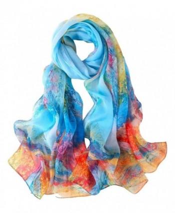 Long Chiffon Silk Scarf Floral Print - Blue Floral - CC1842MUAZE
