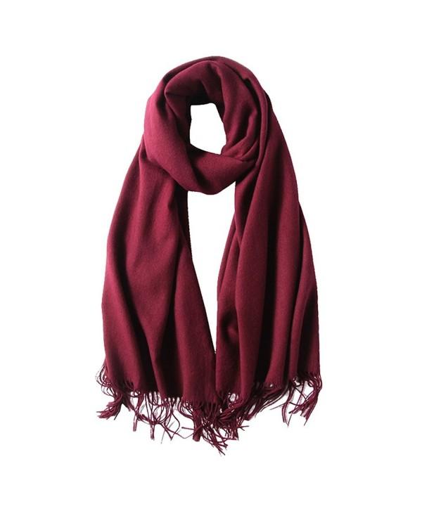 SUNDAYROSE Blanket Scarves Womens Winter Warm Oversized Cashmere Feel Tassel Solid Wrap Shawl - Burgundy - CQ187OMENGH