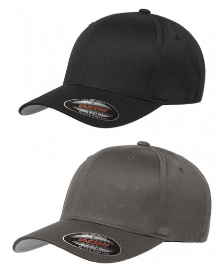 Flexfit Unisex Wooly Combed Twill Cap (6277) 2-Pack (XL/XXL- Black & Dark Gray) - CG12EZOQMWN