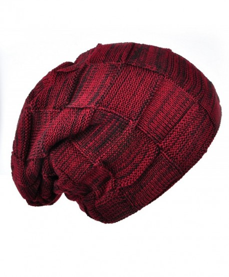 Joyingtwo Winter Warm Hat Thick Soft Knit Wool Fleece Slouchy Beanie Skully Cap For Men Women - Wine Red - CN187XYQYYZ
