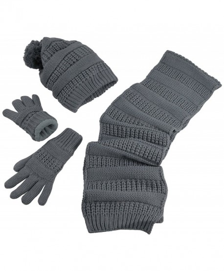 ca4ad120c6e N Ice Caps Women s Solid Cable Knit Hat Scarf Gloves Accessory Set - Gray -  CA12KI2VV9Z