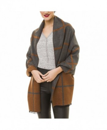 Scarf for Women Checked Plaid Reversible Soft Cashmere Feel Elegant Shawl Wrap - Gray Brown - C7189I2GM5L