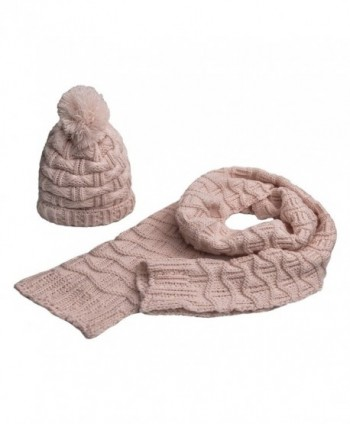 Lanzom Women Lady Fashion Winter Warm Knitted Hat and Scarf Set Skullcaps Valentine's Gift - Light Pink - CH12NZYL9TI