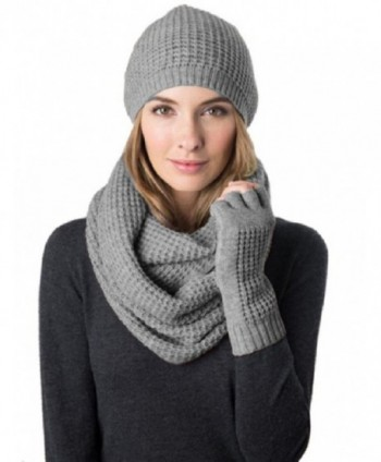 Celeste Women's Wool Cashmere Blend 3 Piece Set- Hat- Infinity Scarf & Glove - Heather Grey - C312DUHTQRT