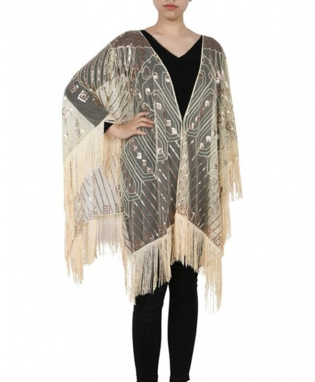 Kayamiya Women's Evening Shawl Wraps 1920s Sequin Beaded Cape With Fringe - Champagne - CY189KR8C89
