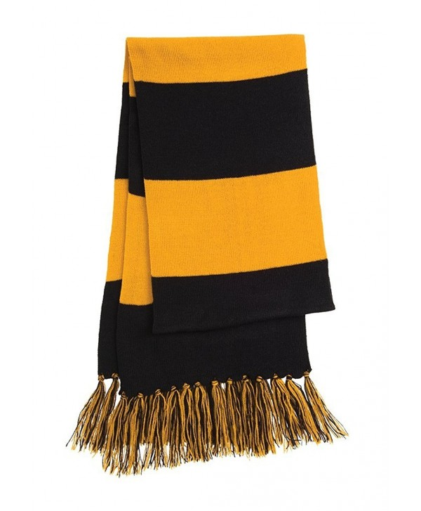 Dri-Wick Knit Stripe Scarf with Fringe - Black/Gold - CQ18882IGTE