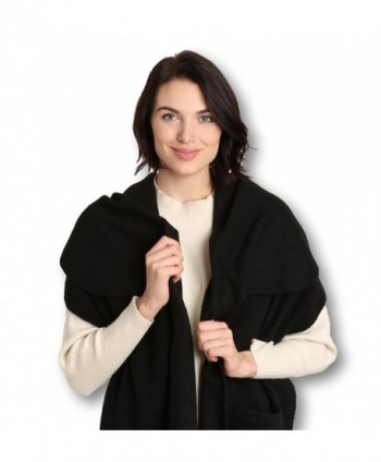 Pembrook Polar Fleece Shawl Wrap Pashmina Scarf - Fringe Trim and Embroidery - Black - CF11N1BYU0N
