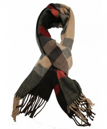 JSL Super Soft Luxurious Classic Plaid Style Cashmere Feel Winter Scarf - Grey Beige Square - CD189RYM0S5