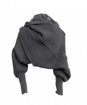 Losuya Fashion Autumn Winter Unisex Warm Scarf with Sleeves Knit Long Soft Wrap Shawl Scarves (Gray) - CQ11R2R6ML7