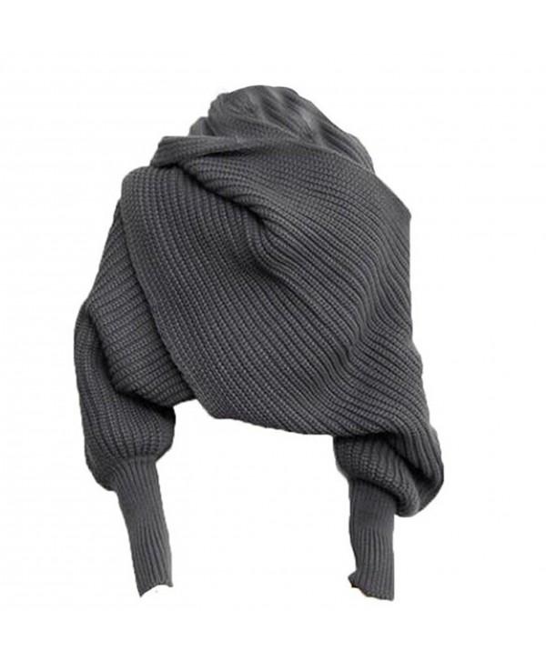 Losuya Fashion Autumn Winter Unisex Warm Scarf with Sleeves Knit Long Soft Wrap Shawl Scarves (Gray) - CQ11R2R6ML7