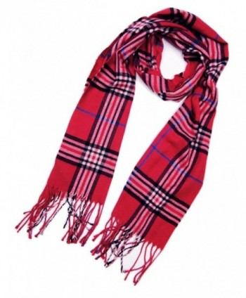 Tapp Collections Cashmere Feel Plaid and Check Tassel Ends Scarf - Cashmere Feel / Magenta - CL189974G3L