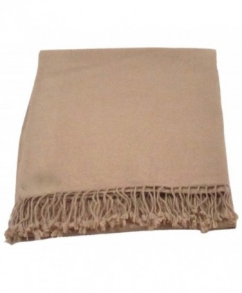 CJ Apparel Solid Color Design 100% High Grade Wool 2 Ply Shawl Pashmina Scarf NEW - Brown - CP12F62Z0XZ