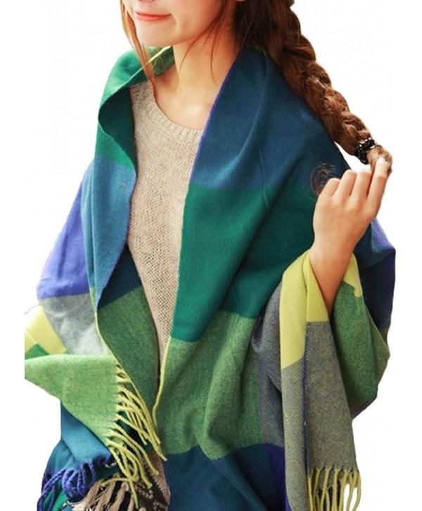 Merokeety Women's Plaid Blanket Scarf Wrap Long Shawl Winter Warm Lattice Large Scarf - Yellow&Green - CR127INVIR7