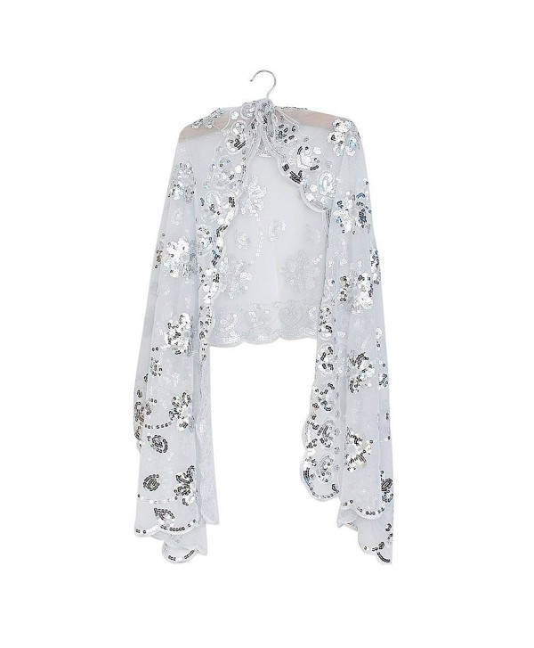 Silver White Fashionable Flower Decoration Sequin Bridal Shawl Cape Wedding Party Evening Sheer Wrap - CJ11OQYY7K7