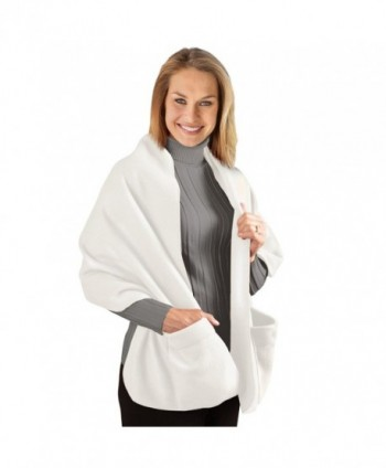 "Fleece Wrap Shawl With Pockets- 66""L - Winter White - CE11P3DC5ZJ"