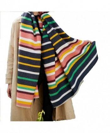 "Promini Women's Soft Stripes Long Scarf with Tassels Winter Warm Blanket Large Wrap Shawl 79"" x 35"" - Navy - CM186GRQQKD"