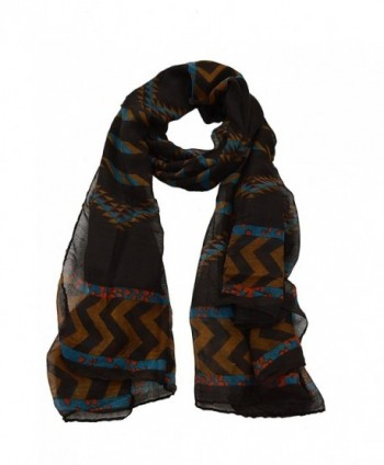 Tribal Oblong Chevron Scarf - Brown - CS11MTZV497