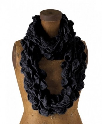 Chic Ruffle Knit Infinity Loop Scarf - Black - CU117OP00FB