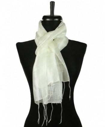 Thai Natural White Hand Craft Pure Raw Silk Fabric Scarf Small Shawl Thailand - CS11EG7Q06D