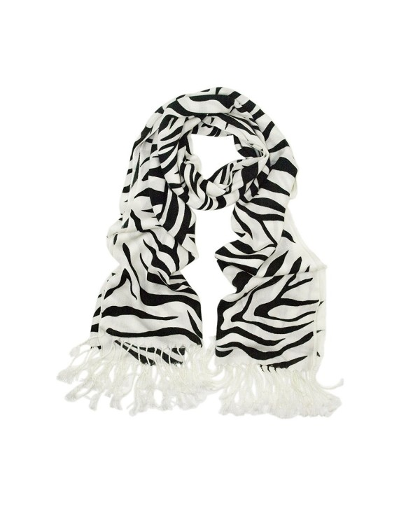 TrendsBlue Elegant Zebra Animal Print Fringe Scarf - Diff Colors Avail - Black & White - C3113AHJVDX