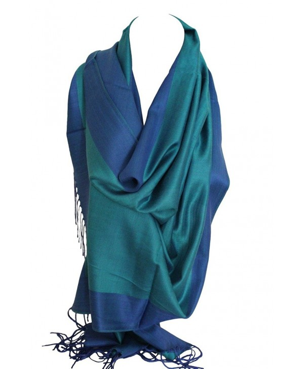 Two Sided Reversible Plain Pashmina Feel Wrap Scarf Shawl Stole Head Scarves - Green & Blue - C112O020V1U