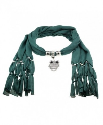 Yin Green Cotton Scarf Shawl in Silver with Vintage Charm Elegant Owl Pendant - CJ129YGWH4T